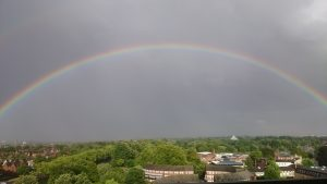 Balcony view rainbow from 2 bed apartment to rent in Bedford